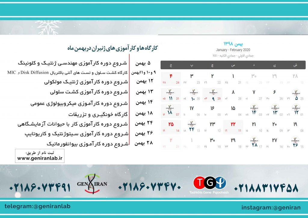کارگاه ها و کارآموزی های ژنیران در بهمن ماه 98